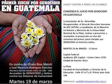 Afiche inicio juicio Guatemala